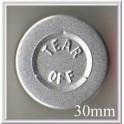 30mm Center Tear Aluminum Vial Seals, Silver, Pk of 250