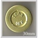 30mm Center Tear Aluminum Vial Seals, Gold, Pk of 250