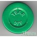 30mm Center Tear Aluminum Vial Seals, Green, Pk of 250